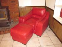 Red leather couch, half chair, and ottoman. Selling