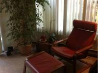 """Beautiful Red Leather Ikea """"Poang"""" Leather Chair and"""