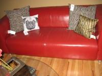 WE ARE MOVING SO NEED TO SELL GORGEOUS RED LEATHER