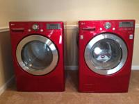 LG steam gas dryer (Wild Cherry Red), 9 cycle, ultra