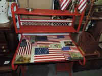 Red Metal Workdesk with Decoupage Leading of the