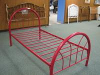 Great red metal bunkbed. Solidly built and ready to