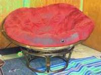 Papason Red Chair with brown wood stand in excellent