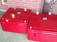 Beautiful bright red pedestals for front loader washer