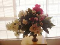 Red, Pink and White Silk Flower Arrangement ONLY $69