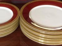 Beautiful red plates with 24 k gold rims-set of 8 large