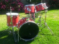 Great drum set for the aspiring drummer.  Red Sparkle
