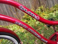 "RED UPLAND BEACH CRUISER BIKE 26"" BRAND NEW. NEVER"