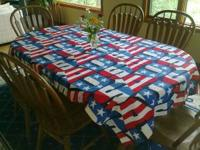 TWO patriotic tablecovers. $6.00 for both. That's only