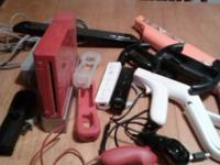For sale, red wii - has all the wires , 2 paddles,