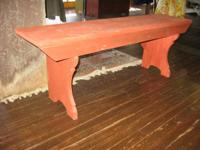 Red Triple Mortised Seat Bench, ... Carefully Utilized