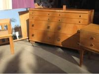 REDUCED--Used veneered solid wood bedroom set for sale