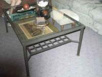 4' X 2' LARGE THICK GLASS AND WROUGHT IRON COFFEE