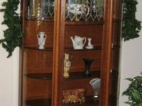 Antique 1870-1880s Bow Front Glass China Cabinet All