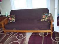 Beautiful clean milk chocolate brown futon with wood