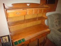 All wood - Side Hutch, Dining Room Table, with 3 leaves