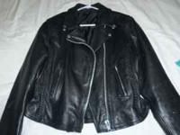 LADIES LG BLK LEATHER MOTORCYCLE JACKET W/ BRAIDS.