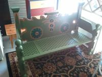 I made this one of a kind bench from headboards and a