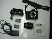 Nikon D80 SLR camera for sale. SD lock is broke in
