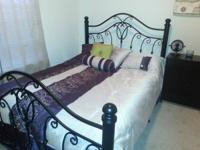 Very cute queen size black metal bed frame with