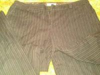size 6 brown pin striped calvin klein dress pants from
