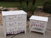 Refinished White with Henrietta pink accents. They are