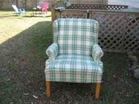 Green plaid wing armed chair, search  for other
