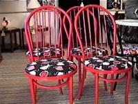 This is a Nice Set of 4 Red Metal Chairs that has Apron