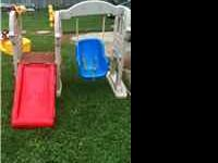 Little Tikes Castle Swing with Slide and Rock Wall,