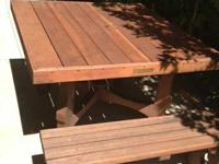 SELLING 2 BEAUTIFUL PATIO REDWOOD TABLES AND 4