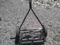 REEL PUSH MOWER USED TWICE. PAID $100.00 new asking