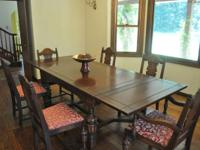 Antique Refectory Dining Table with 6 chairs, buffet