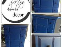 Refinished Bassett dresser (real wood) in a royal blue,