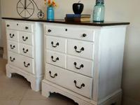 THESE ARE 2 REFINISHED ANTIQUED WHITE RUSTIC WITH DARK