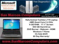 Restored Toshiba L775-S7305 Laptop. AMD Quad Core 2.40