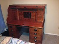 Replica Antique Roll Top Desk Lots of Drawers, Solid