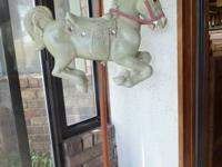 old repo carousel horse on pole--with pole about 4 1/2'