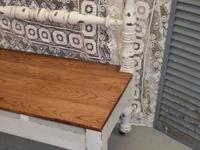 REPURPUSED HEADBOARD BENCH: This bench is repurposed