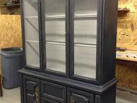 Saved and Black Painted Light Distressed Cupboard