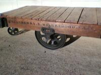 Very nice oak restored LINEBERRY industrial cart. Made