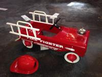 Restored vintage AMF fire truck pedal car. Beautiful
