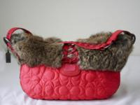 retail $368 Train Pink Quilted Nylon Rabbit Hair Ski