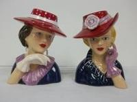 """Retired"" Glamour Girls 2004 Pair Red Hat Lady Head"