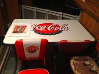Coca Cola Table, 4 Chairs and 1 Bar Stool. Table in