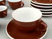 Awesome retro set of coffee cups and small plates Three