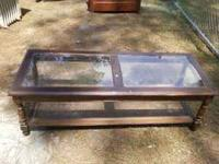 Nice wood and caining retro coffee table. Glass panels