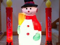 Retro Vintage Blowmold Candles & Snowman Christmas