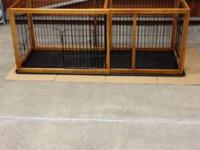 Beautiful hardwood expandable dog crate with tray and