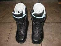 These are verry nice light blue snowboard boots size 8