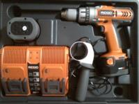 This drill comes with two 12 volt batteries, dual